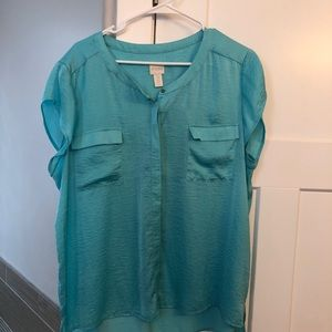 Chico's turquoise blouse size 3
